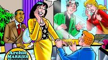The cover of Archie comics showing Archie proposing to Veronica.