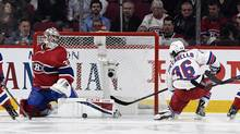 Carey Price extends to deny the Rangers Mats Zuccarello a goal during the first period at Bell Centre on Thursday. (Eric Bolte/USA Today Sports)