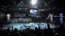 Fan stand and wave white towels before the start of game one between the Vancouver Canucks and The L.A. Kings in Vancouver April 11, 2012. (John Lehmann/The Globe and Mail)