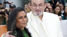 """Director Deepa Mehta (L) and author Salman Rushdie arrive at the gala presentation for the film """"Midnight's Children"""" during the 37th Toronto International Film Festival, September 9, 2012. (FRED THORNHILL/REUTERS)"""