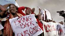 Women demand that security forces search harder for 200 Nigerian schoolgirls abducted by Islamist militants. (Afolabi Sotunde/Reuters)
