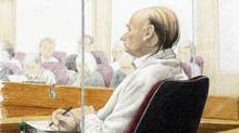 An artist's drawing of accused serial killer Robert Pickton BC Supreme Court in New Westminster, Monday, November 26, 2007. (Jane Wolsak/The Canadian Press/Jane Wolsak/The Canadian Press)