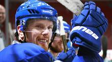 Daniel Sedin of the Vancouver Canucks looks on from the bench during practice at Rogers Arena in Vancouver, Canada April 9, 2012. (Jeff Vinnick/©2012 Jeff Vinnick/The Globe and Mail)