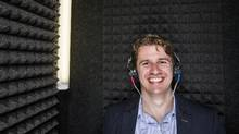 Michael Chrostowski, co-founder of Hamilton-based Sound Options, which has developed a software-based tinnitus therapy, is in the sound booth at the The Voice Clinic in Toronto. (Mark Blinch for The Globe and Mail)