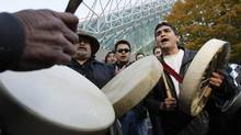 Members of the Nuu-chah-nulth First Nation celebrate a court victory in Vancouver on Nov. 3, 2009. (Lyle Stafford for The Globe and Mail)
