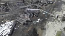 The federal government has announced new rules for railways in response to the derailment and explosion in Lac-Megantic, Que., in July, 2013. (Reuters)