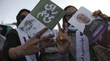Supporters of Iranian presidential candidate Hassan Rouhani rally on the streets of Tehran on June 12, 2013. (FARS NEWS/Reuters)