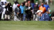Sergio Garcia of Spain plays a shot from a bunker during the second round of the 2017 Masters Tournament at Augusta National Golf Club on Friday. (Rob Carr/Getty Images)