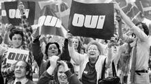 A pro-separation rally during the 1980 Quebec referendum: What prominent French-speaking Quebec politician will speak for the No side if there is ever another referendum? (CP)