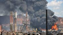 The downtown core after a train carrying crude oil derailed and exploded in Lac-Mégantic, Que., July 6, 2013.