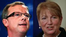 Saskatchewan Brad Wall and Kathy Dunderdale, who took over from Danny Williams in Newfoundland and Labrador, are shown in a photo combination. (Reuters and The Canadian Press)