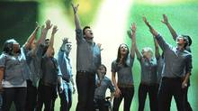 Vocal group New Direcctions from the TV show Glee perform in an episode of the show. (Handout Image)