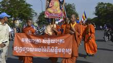 Monks join in the general anti-government protests gripping Cambodia. (Julie Masis For the Globe and Mail)