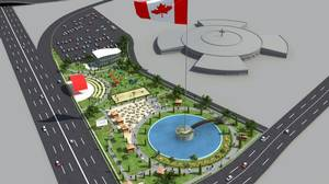An artist's rendering of the proposed flagpole in Emery Village.