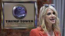 Kellyanne Conway, senior adviser to U.S. President-elect Donald Trump, stands in the lobby at Trump Tower in New York, U.S., on Monday, Nov. 28, 2016. (BEHAR ANTHONY/SIPA/Bloomberg)