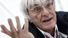 Formula One commercial supremo Bernie Ecclestone gestures as he is interviewed prior to the German F1 Grand Prix at the Nuerburgring circuit July 23, 2011. (ALEX DOMANSKI)