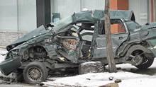 A fatal overnight crash in Winnipeg on March 29, 2008. (Joe Bryksa/Joe Bryksa/The Canadian Press)