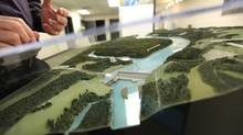 A model of the proposed Site C Dam at the community consultation office in Fort St. John, B.C., on Jan. 16, 2013. (Deborah Baic/The Globe and Mail)
