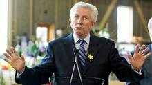 Bloc Quebecois Leader Gilles Duceppe speaks to supporters during a campaign stop at a farm in Chambly, Que., south of Montreal, on April 27, 2011. (Graham Hughes/THE CANADIAN PRESS)