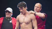 From right, Ciaran Hinds, Miles Teller and Aaron Eckhart star in Bleed for This, a rugged, uplifting biopic on lesser-weight boxer Vinny Pazienza. (Seacia Pavao)