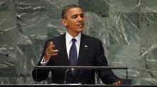 U.S. President Barack Obama  addresses the 67th United Nations General Assembly at the U.N. headquarters in New York (Mike Segar/Reuters)
