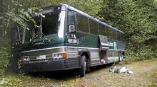 The bus on which Grade 12 students from an Edmonton school were trying to make Bamfield Marine Sciences Centre on Vancouver island. Instead, they spent some time getting to know the wilderness.