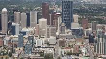 Aerial shot of Calgary skyline showing the new Bow building on the right. (Chris Bolin for the Globe and Mail)