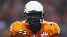 BC Lions defensive tackle Khalif Mitchell celebrates after sacking Saskatchewan Roughriders quarterback Drew Willy during the first half of their CFL football game in Vancouver on Nov. 3, 2012. (BEN NELMS/REUTERS)