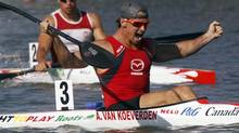 Adam Van Koeverden (front) of Canada celebrates winning the men's K1 1000m final during the ICF Canoe and Kayak Sprint World Championships in Szeged, 170km (106 miles) south of Budapest, August 19, 2011. (LASZLO BALOGH/REUTERS)