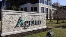 Agrium's headquarters is pictured in Calgary, on Wednesday, May 7, 2014. Potash Corp. of Saskatchewan and Agrium have agreed to merge in a deal that would create a global agricultural giant worth an estimated US$36 billion. (Larry MacDougal/THE CANADIAN PRESS)