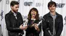 Electronic band Dragonette pose after winning the Dance Recording of the Year during the 41st Juno Awards in Ottawa April 1, 2012. (Chris Wattie / Reuters/Chris Wattie / Reuters)