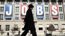 "A ""Jobs"" banner at the U.S. Chamber of Commerce in Washington in February. The jobless rate will be a key factor in the upcoming U.S. presidential election. (Kevin Lamarque/Reuters/Kevin Lamarque/Reuters)"