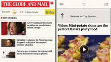 Screengrabs showing the homepage and video article page of The Globe and Mail's news application for iPhone.