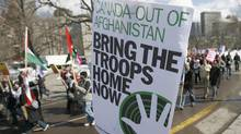 A March 2008 file photo shows protesters in Toronto demonstrating against Canada's role in Afghanistan. (J.P. Moczulski/J.P. Moczulski/The Canadian Press)