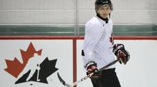 Team Canada hockey junior prospect Sam Reinhart scored the only goal for Canada in their 5-1 loss to the United States in exhibition play in Lake Placid, N.Y. on Saturday. (file photo) (GRAHAM HUGHES/THE CANADIAN PRESS)