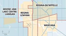 Changes to federal ridings in Regina and Saskatoon would make it easier for NDP to regain a foothold in the province. (ELECTIONS CANADA/THE GLOBE AND MAIL)