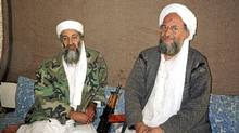 Osama bin Laden (L) sits with his adviser and purported successor Ayman al-Zawahri, an Egyptian linked to the al-Qaeda network, during an interview with Pakistani journalist Hamid Mir (not pictured) in a file image supplied by the Dawn Newspaper on November 10, 2001. (HO/Reuters)