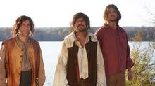 A scene from Canada: The Story of Us depicts Samuel de Champlain (centre) and crew arrive in Innu territory in 1608. (CBC)