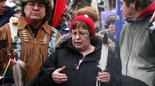 Attawapiskat Chief Theresa Spence speaks to the media on Victoria Island in Ottawa, January 11, 2013. (Dave Chan For The Globe and Mail)