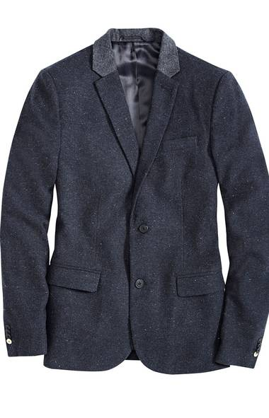 Nep blazer with contrast collar, $149