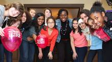 Canadian Olympic wrestler Ohenewa Akuffo celebrates International Women's Day at an interactive youth conference hosted by Plan Canada's Because I am a Girl initiative and the Toronto District School Board. (Plan Canada)