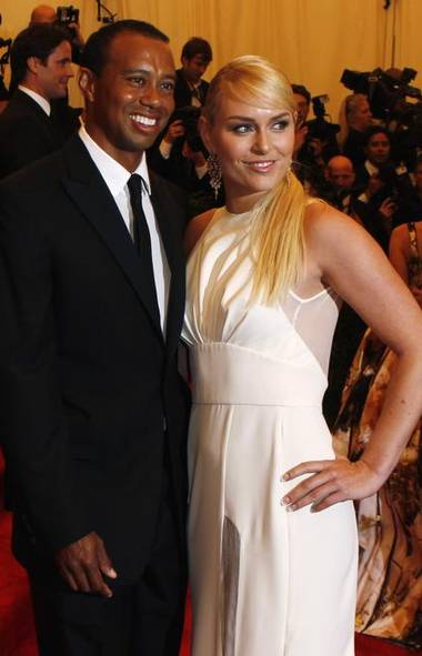 Tiger Woods and his new girlfriend, skier Lindsey Vonn, attend the Metropolitan Museum of Art Costume Institute Benefit in New York on Monday, raising the question: Is it worse to be attacked by a jilted women armed with a golf club or a ski? (Lucas Jackson/Reuters)