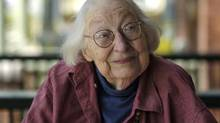 Jane Jacobs is pictured in this 2004 file photo. The famous writer, who would have been 100 this year, shied away from partisan commitment and took pleasure in frustrating all ideologues equally. (Fred Lum/The Globe and Mail)