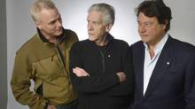 Director David Cronenberg, producer Robert Lantos and actor/director Paul Gross meet with the Globe's editorial board to talk about their proposal for a Canadian film channel. Prior to the meeting, the three were photographed in the Globe studio on March 20 2013. (Fred Lum/The Globe and Mail)