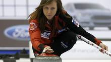 Canada's skip Rachel Homan delivers a stone during her page playoff game against Switzerland (MATHIEU BELANGER/Reuters)