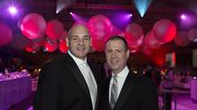 March 24, 2013 - TORONTO, ON: George Smitherman (left) and Christopher Peloso during Casey House's Snowball at the Mattamy Athletic Centre at the Gardens. (Della Rollins For The Globe and Mail)