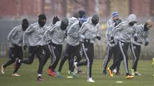 Montreal Impact players warm up during practice in Montreal on Nov. 29, 2016 in anticipation of the following day's second-leg Eastern Conference final in Toronto. (Paul Chiasson/The Canadian Press)