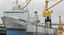 HMCS Preserver, the navy's 40-year-old Halifax-based supply ship, rests at drydock at the Irving-owned Halifax Shipyards in Halifax on Thursday, June 3, 2010. The vessel, commissioned in 1970, is receiving a $45million refit. (ANDREW VAUGHAN/THE CANADIAN PRESS)