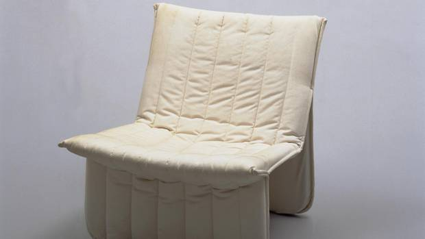 One of the more unusual pieces on display is the 1975 Ribbon Chair by Denmark-born, Vancouver-based designer Niels Bendtsen. It looks like a duvet suspended in mid-air. The piece is on loan from New York's Museum of Modern Art.