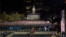 Democratic presidential candidate Hillary Clinton speaks during a rally at Independence Hall in Philadelphia, Monday, Nov. 7, 2016. (Pablo Martinez Monsivais/AP)